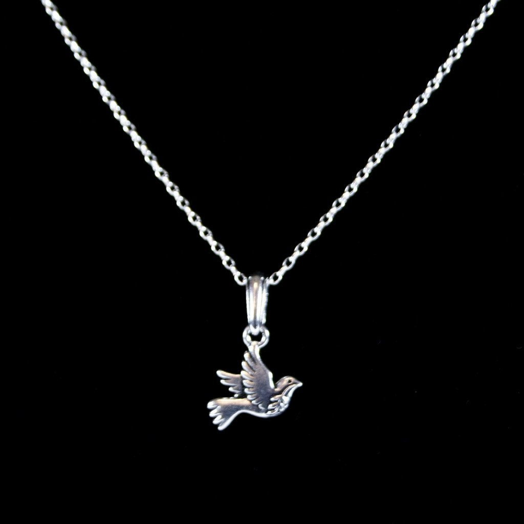 Dove of peace pendant in antique 925 sterling silver filled dove of peace silver dove pendant in 19 x 19mm size antique silver fill over pewter this symbolic bird hangs from an antique silver bail aloadofball Images