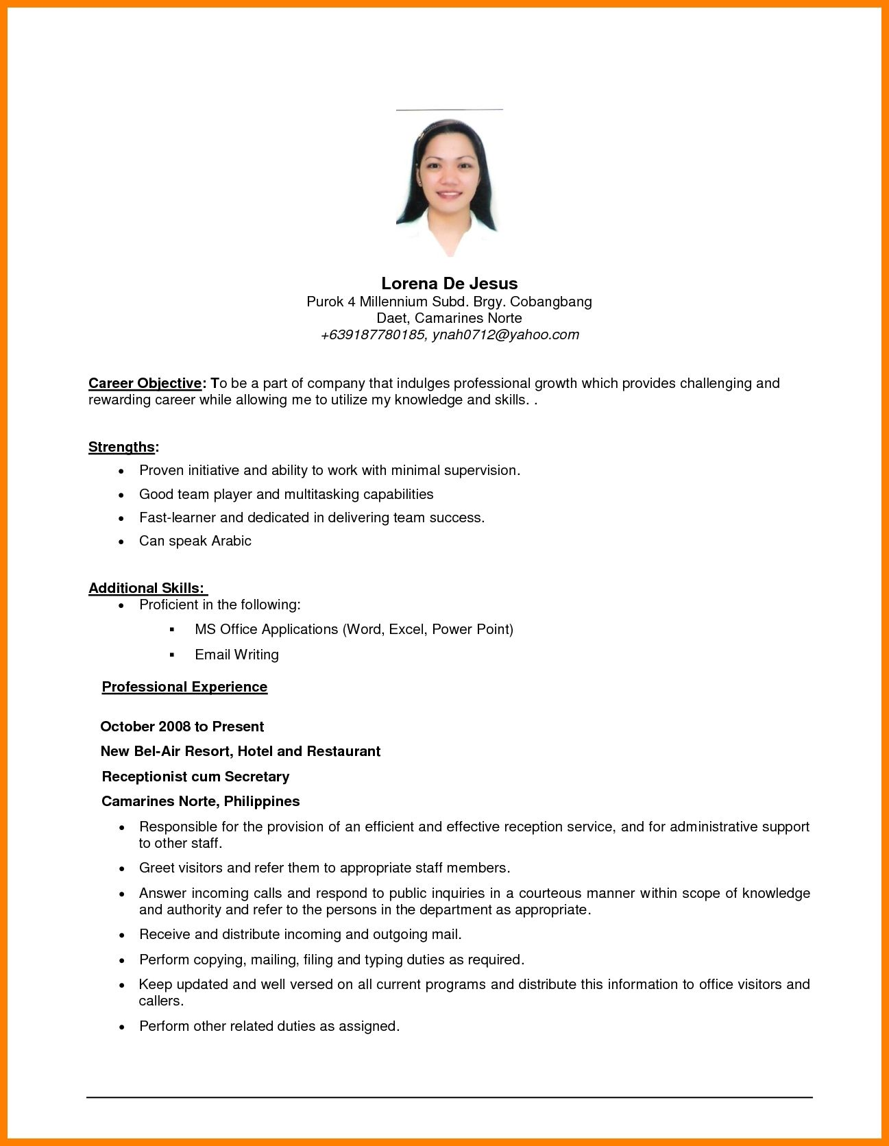 Example Of Resume Objective Resume Templates Resume Examples