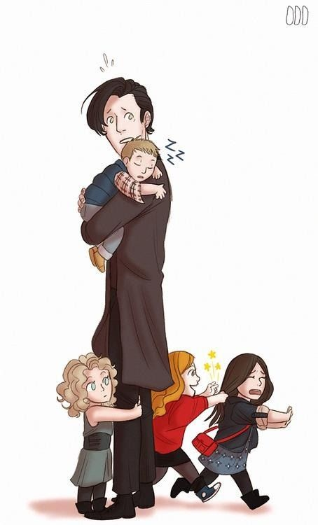 """11 and his companions. This one is the funniest! I think it's funny that Rory is depicted as being asleep, but we all know he's probably dead! lol And River has him about the leg saying, """"He's mine!"""" And Amy is fighting off Clara, saying, """"You stay away from my daughter's husband!"""" Hahaha!"""