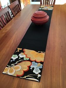 Charmant Vintage Japanese Obi Table Runner Black Gold Silver