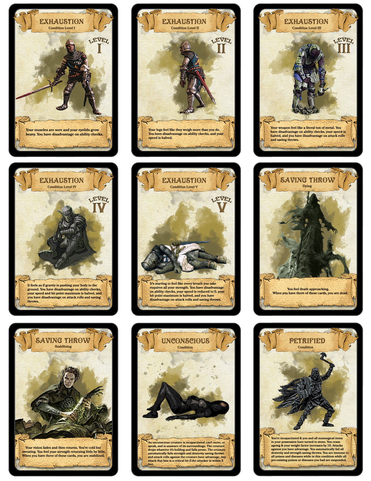 DnD 5e cards Dungeons and dragons miniatures, D&d
