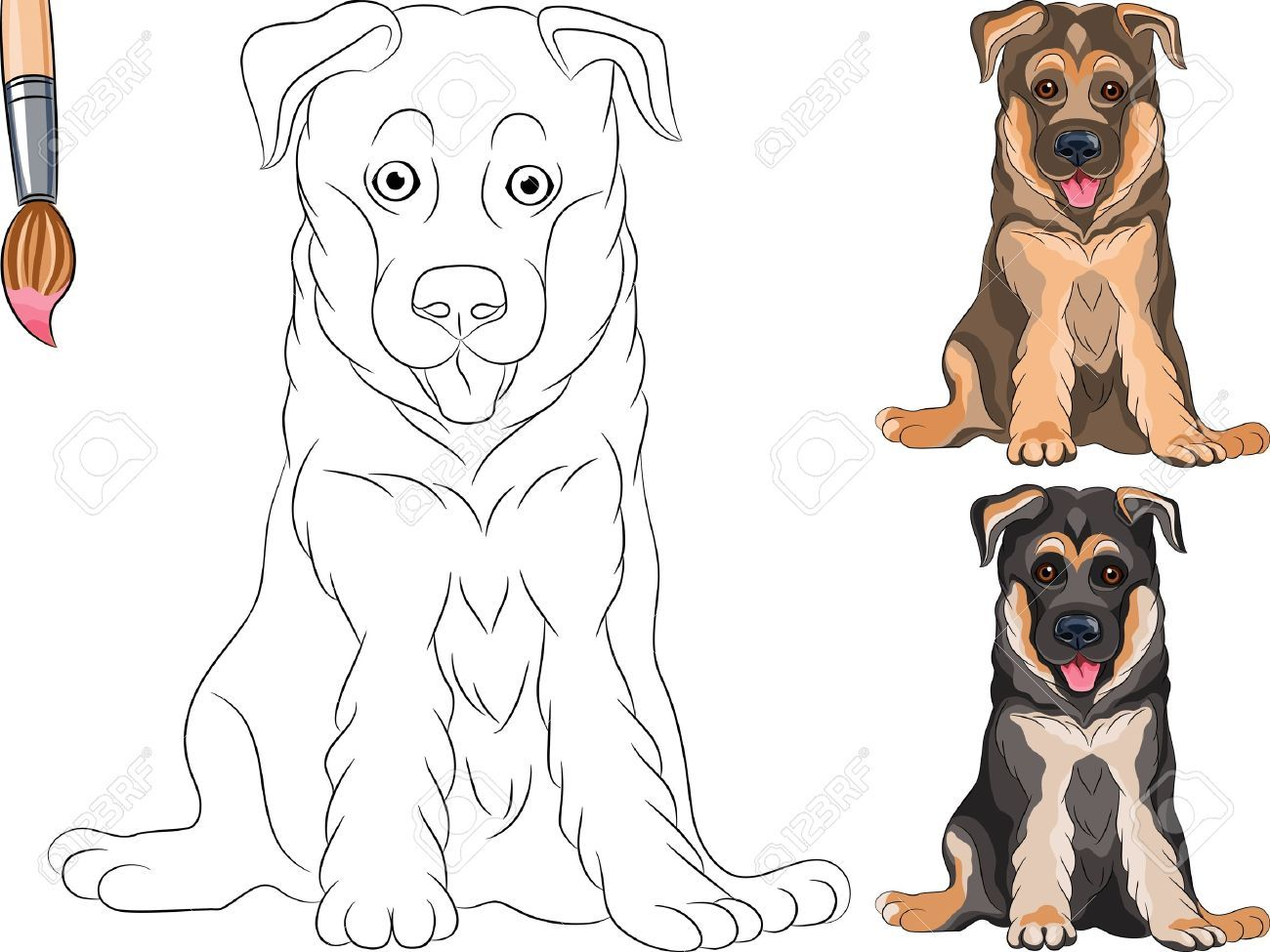 Coloring Book For Children Of Funny Smiling Puppy Dog German Color SheetsGerman Shepherd