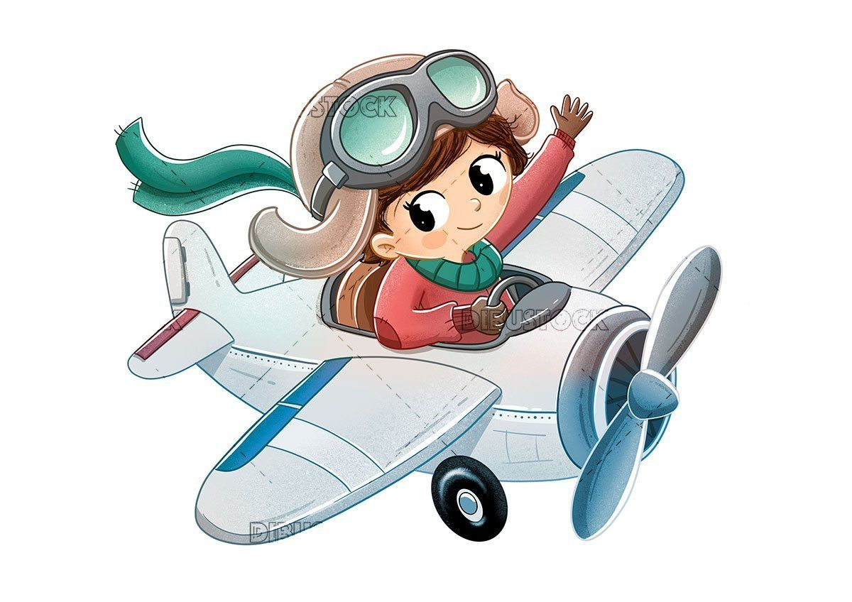 Little Girl Riding On A Toy Plane Airplane Illustration Cartoon Airplane Toy Plane