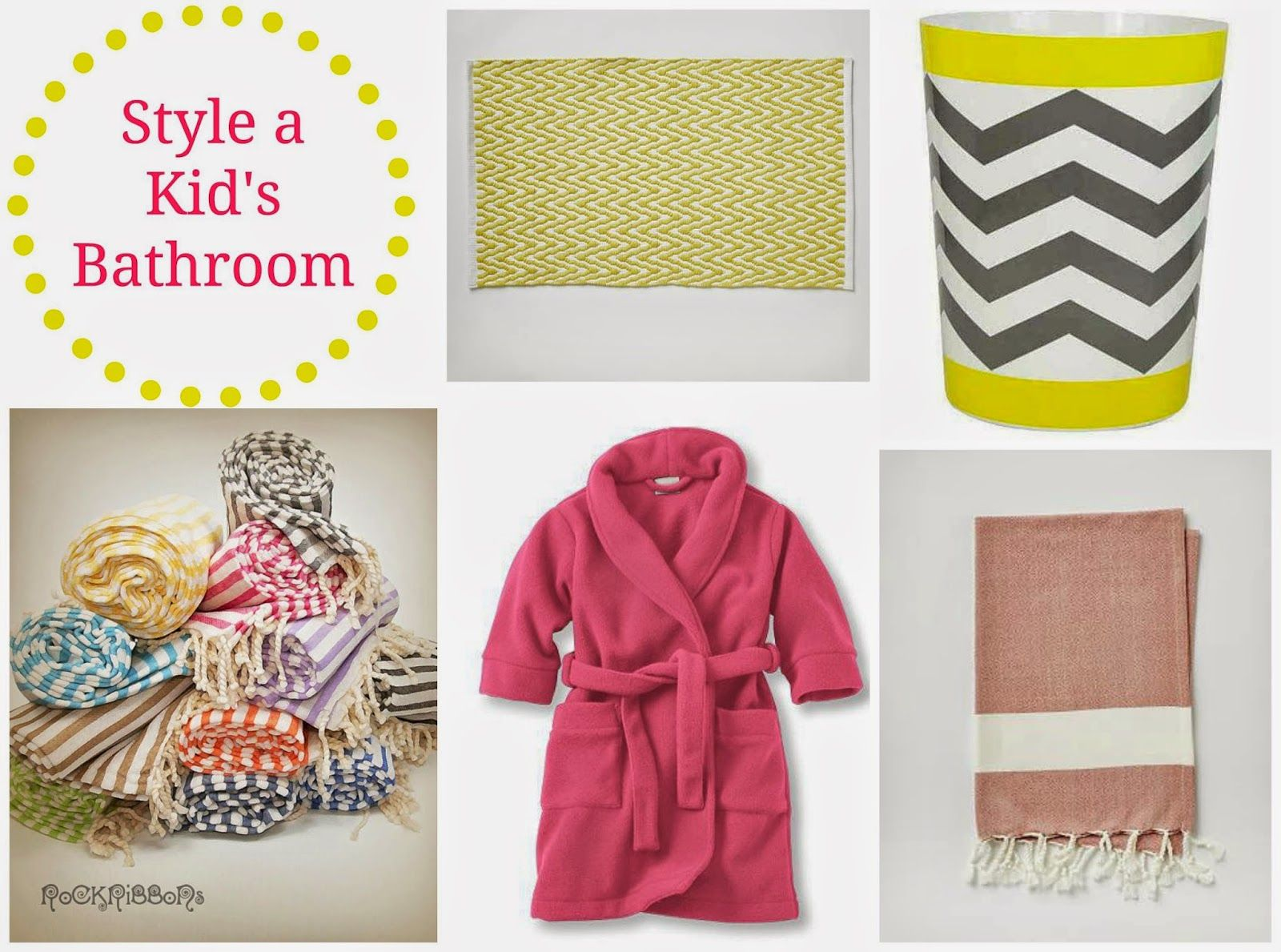 Improvement List: Style the Kid's Bathroom Red and Yellow with a bit of gray are the main colors. Click for links to find out where to get the items. Joining Copy Cat Chic's Five For Fifty.