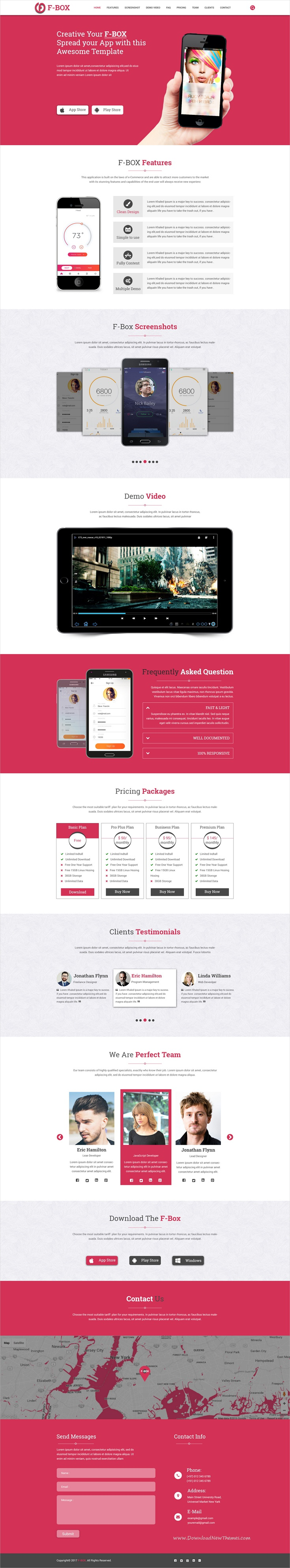 f box landing page mobile app psd template psd templates mobile