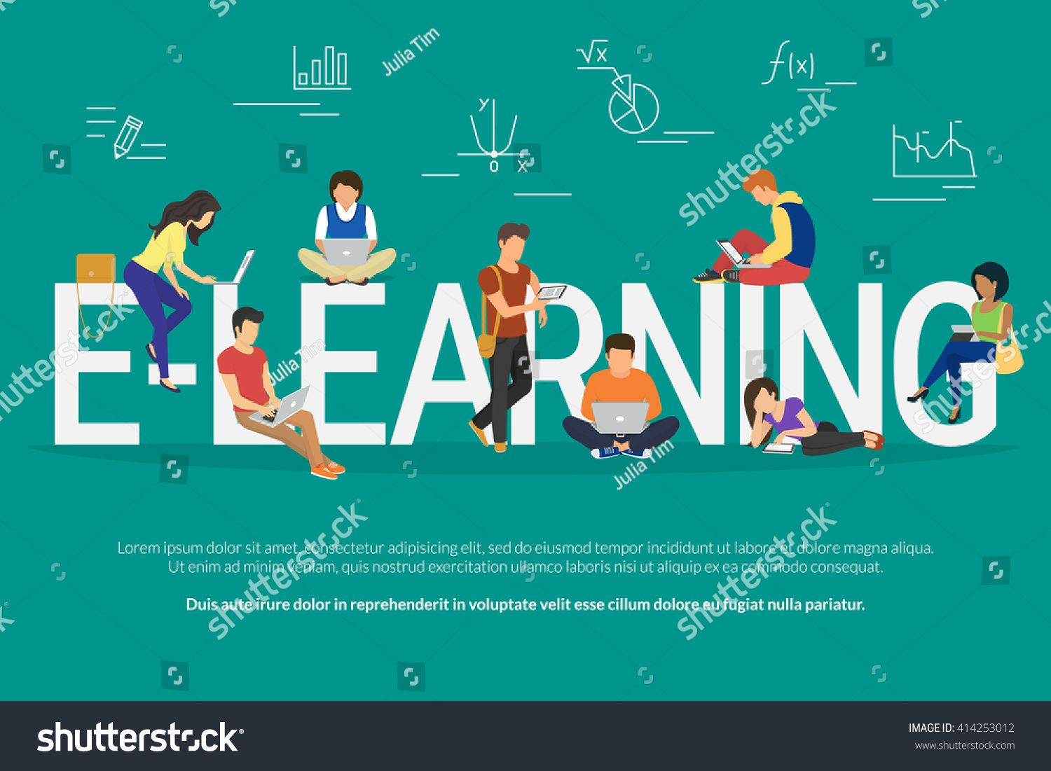 E Learning School Vector Illustration Of Young People Using Laptop Tablet And Smartphone For Online Distance Stu Check Email Mobile Computing Protection Plans