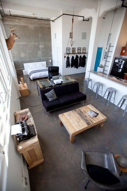 Eclectic La Loft I Love Style Concrete Floors Accent Wall Super Tall Ceilings