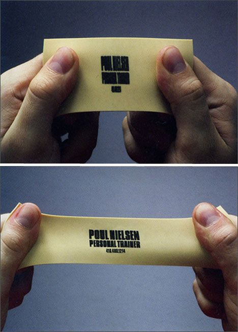 Stretch Rubber Personal Trainer Business Cards, would look good if it went from scan barcode to name