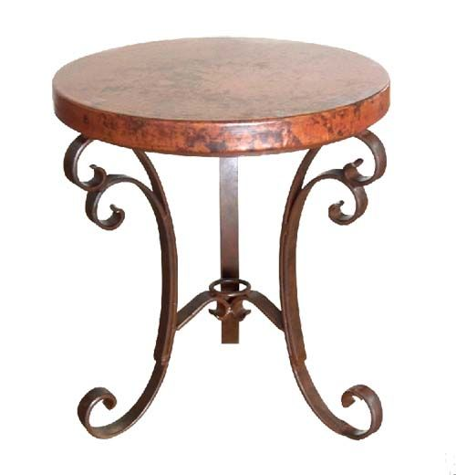 Hammered Copper Occasional Table Western Cocktail And End Tables   Rustic  Style Occasional Table With Thick