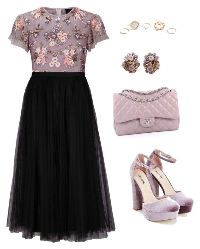 """Untitled #2113"" by n2288851 on Polyvore featuring JustFab, Needle & Thread, Valentino, Chanel and GUESS"