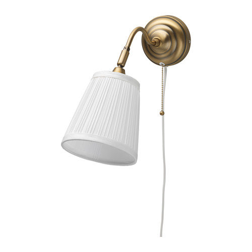 IKEA - ÅRSTID, Wall lamp, , Fabric shade gives a diffused and decorative light.You can easily aim the light where you need it because the lamp head is adjustable. For instance, you can direct the light on the book you are reading, use it as an uplight or aim it to focus on a specific area in the room.