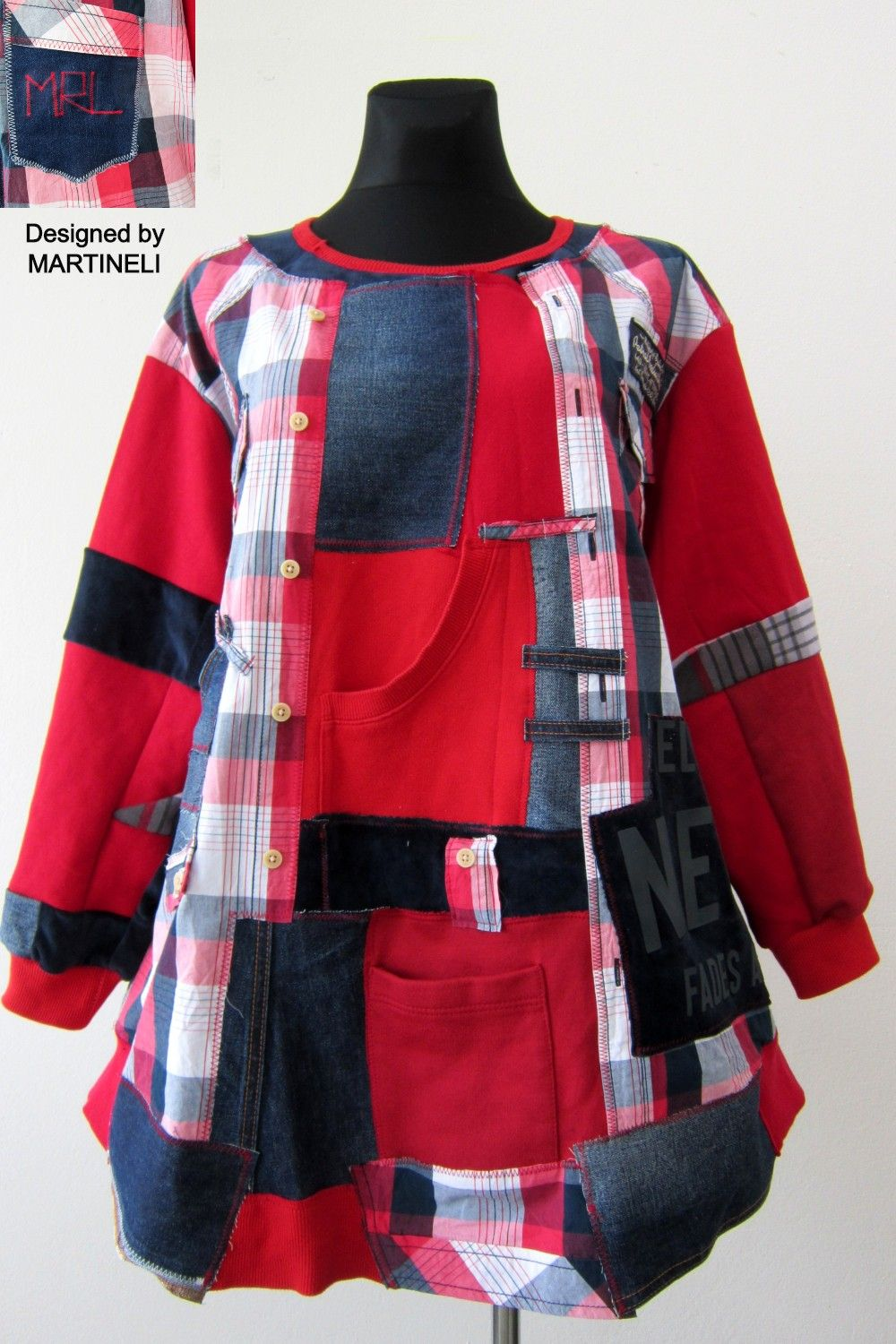 4XL Plus Size Red Plaid Sweatshirt Dress,Upcycled Clothing For Women,Patchwork Denim Tunic Dress,Oversized Cotton Dress,Street Style Tops