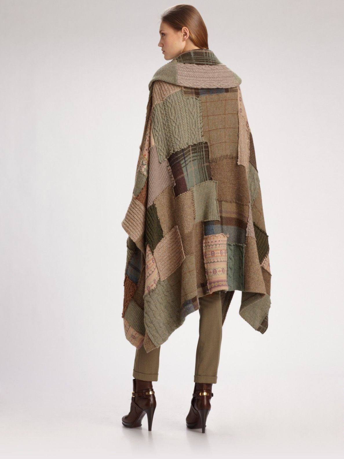 db64a65a Ralph Lauren Blue Label Wool/cashmere Patchwork Poncho in Brown (tan) | Lyst
