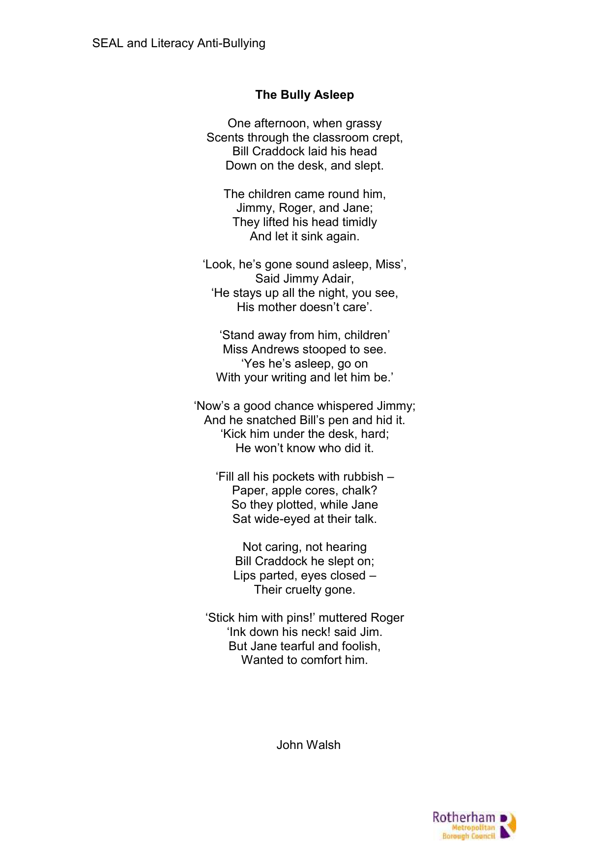 the bully asleep poem and drama ideas poetry pinterest