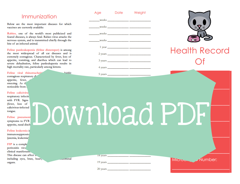Free Cat Medical Tracker Printable  Medical Cat And Pet Stuff
