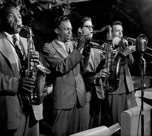 Charlie Parker, Miles Davis, Allen Eager and Kai Winding at the Royal Roost, New York ,1948 — Herman Leonard