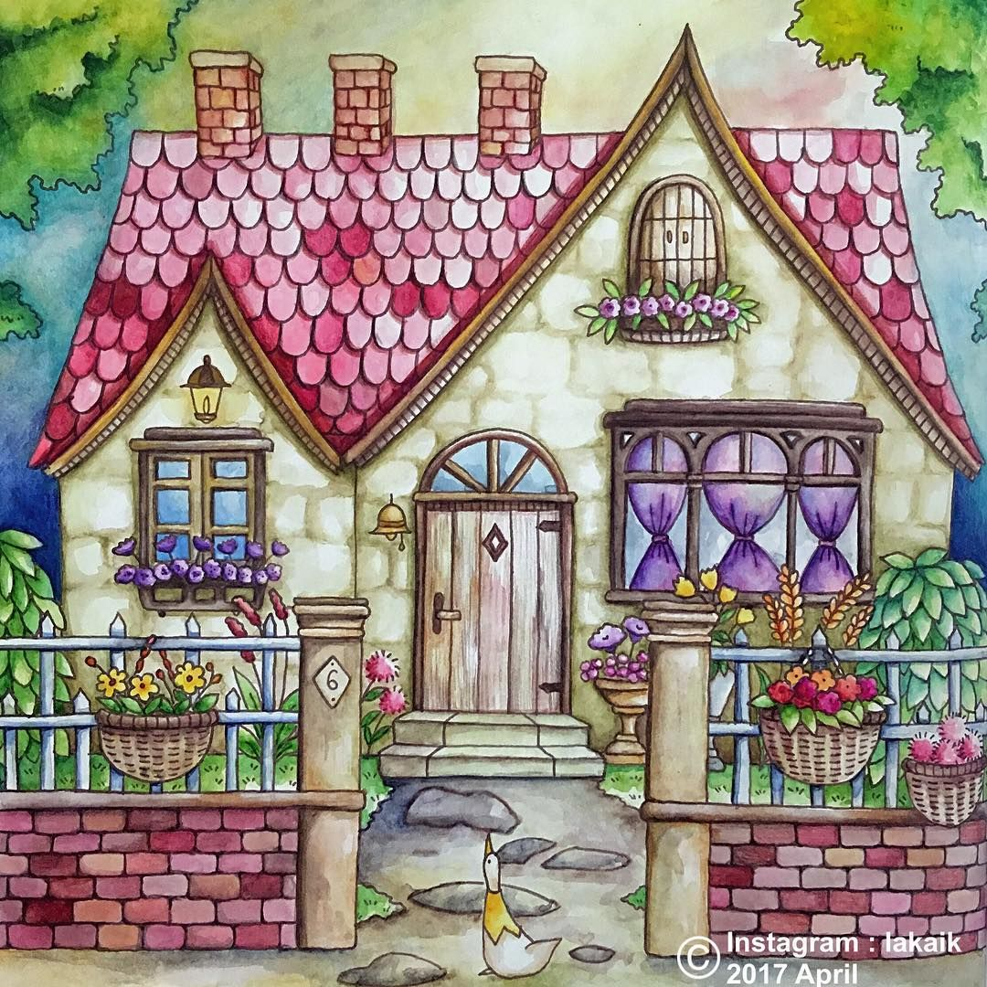 Romantic Country Coloring Book Color Drawing Art Colorful Drawings Romantic Country