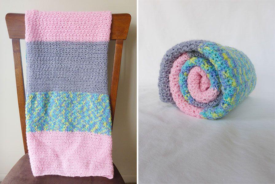Easy Baby Crochet Blanket for Beginners - Color Block Version