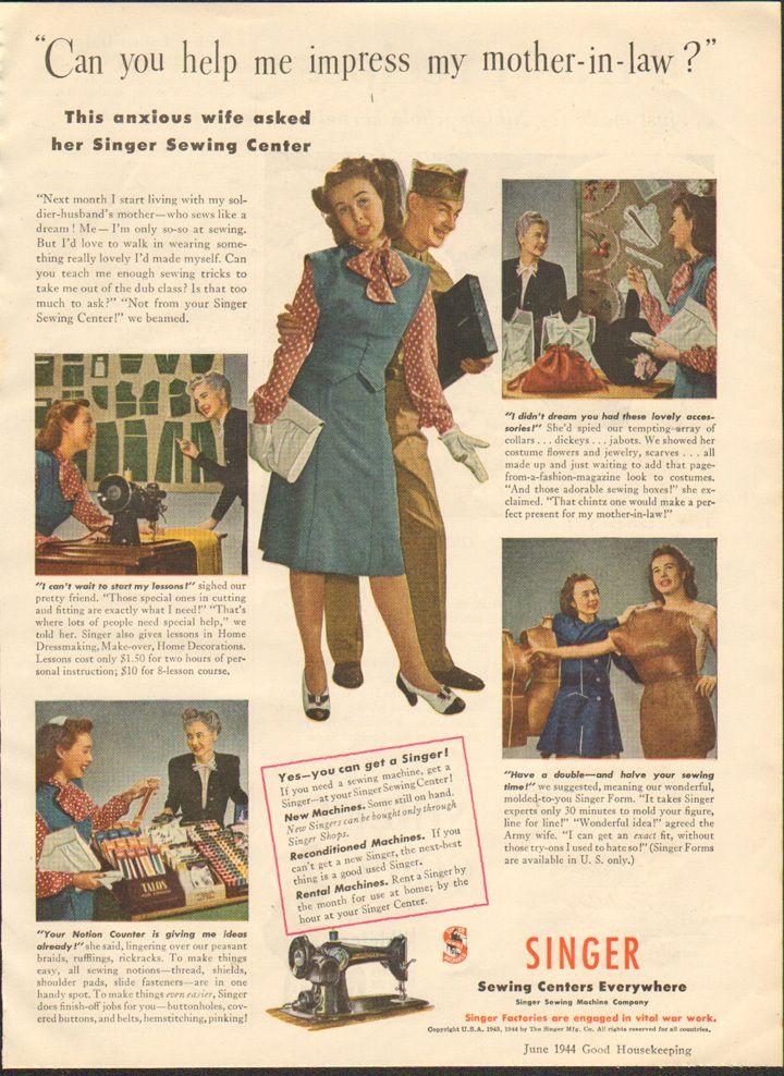 Vintage Magazine Ad Singer Sewing Machines 1944