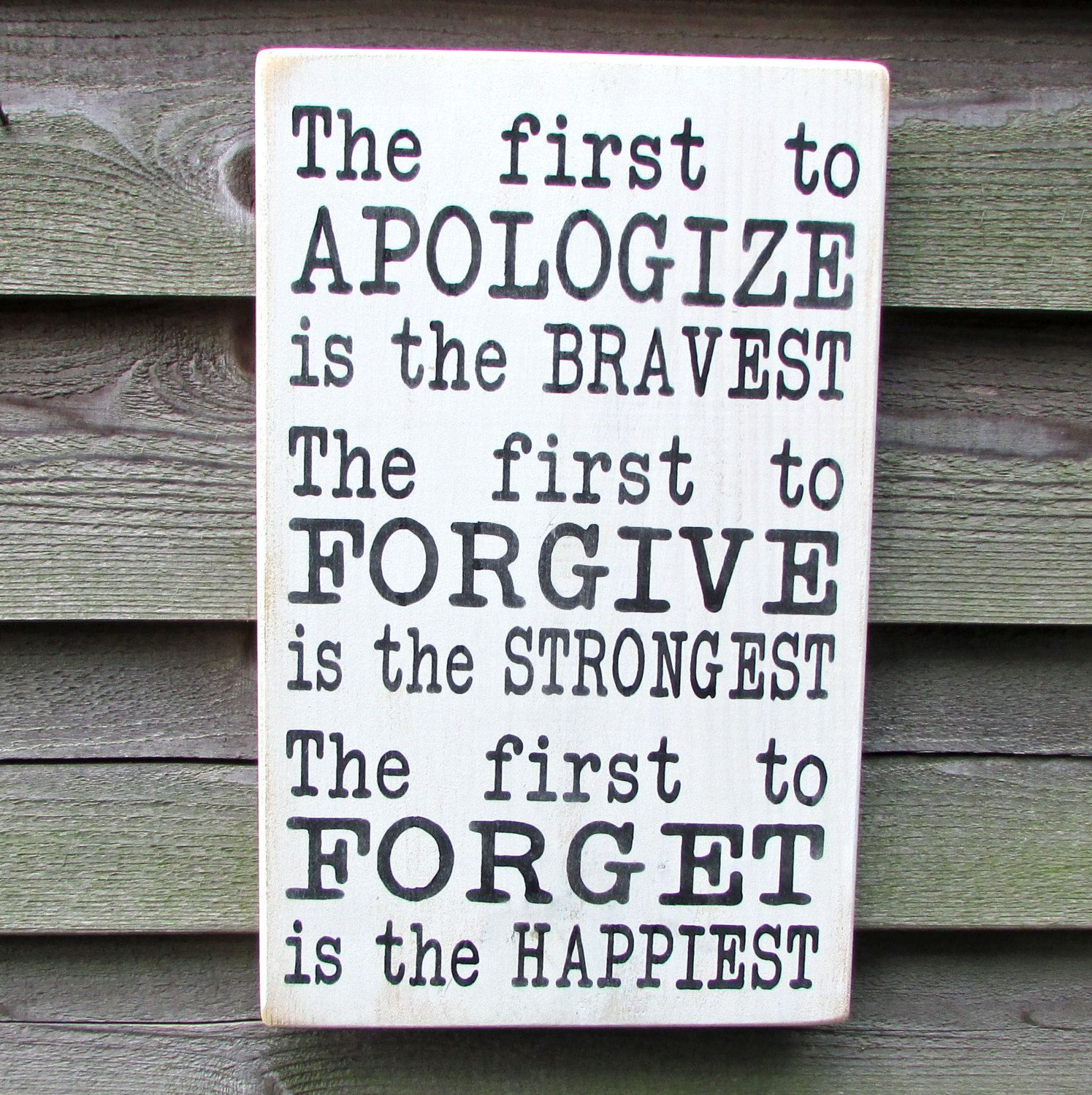 Photo of country home decor, inspirational sign, first to apoligize is the bravest, family rules, primitive country decor, rustic decor, hand painted