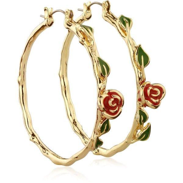 Disney Beauty and the Beast Rose Hoop Earrings (58) liked ...