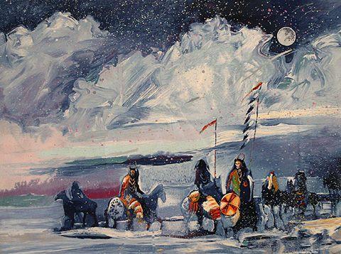 Michael Atkinson Art for Sale | Galerie Zuger Santa Fe • Earl Biss | War Flags on Broken Waters