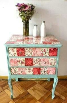 diy decoupage furniture. I Can Make The Patch Look By Cutting Paper In Squares And Making A Patchwork Look. Decoupage TableDecoupage FurniturePaint Diy Furniture G
