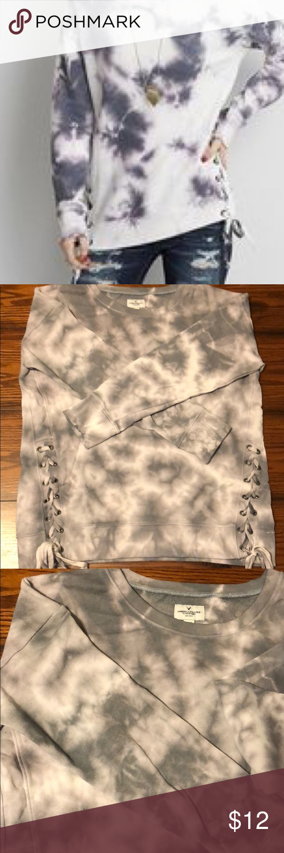 American Eagle Tie Dye Laceup Sweatshirt American Eagle Sweatshirts Tie Dye [ 1740 x 580 Pixel ]