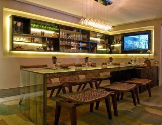 Sala De Jantar Moderna Bar Em Casa Bar Embutido Decoracao De Bar