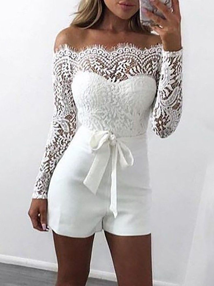 fc94cff6f306 Shop Off Shoulder Eyelash Lace Patchwork Belted Romper – Discover sexy  women fashion at Boutiquefeel