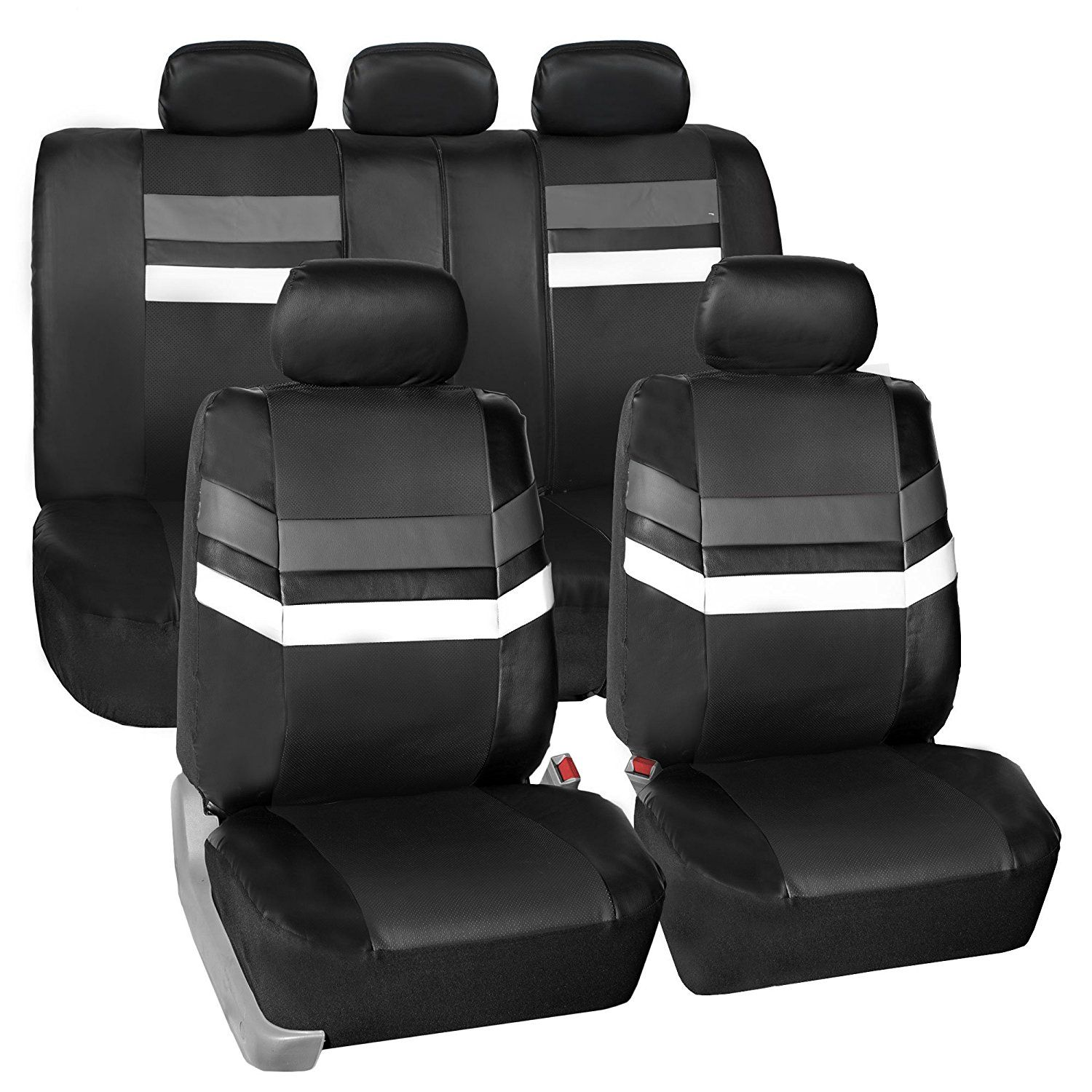 FH Group Leather Full Set Seat Covers Gray
