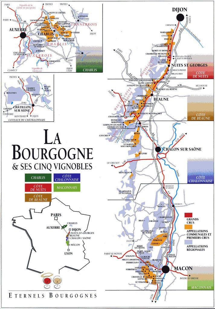 Wine Regions Of Bourgogne Burgundy Wine Map Chablis Wine Wine Region Map