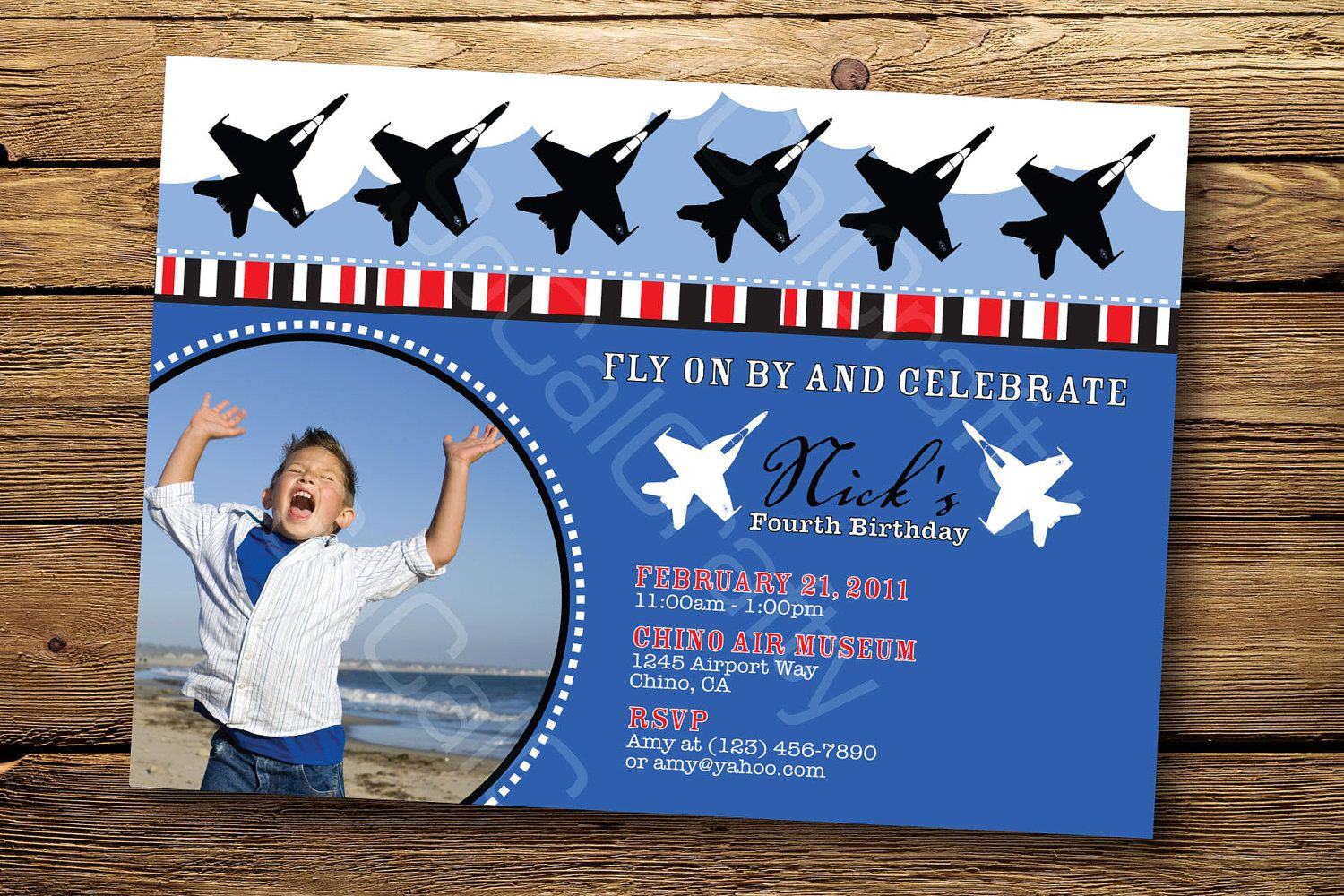 Military Amy Navy Air Force Airplane Birthday Party Invitation