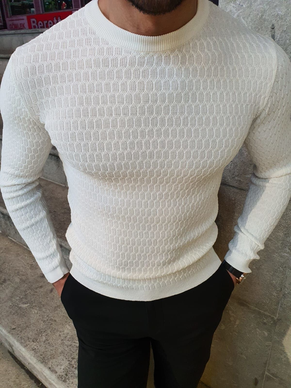 GentWith Rawlins White Slim Fit Crew Neck Sweater in 2020