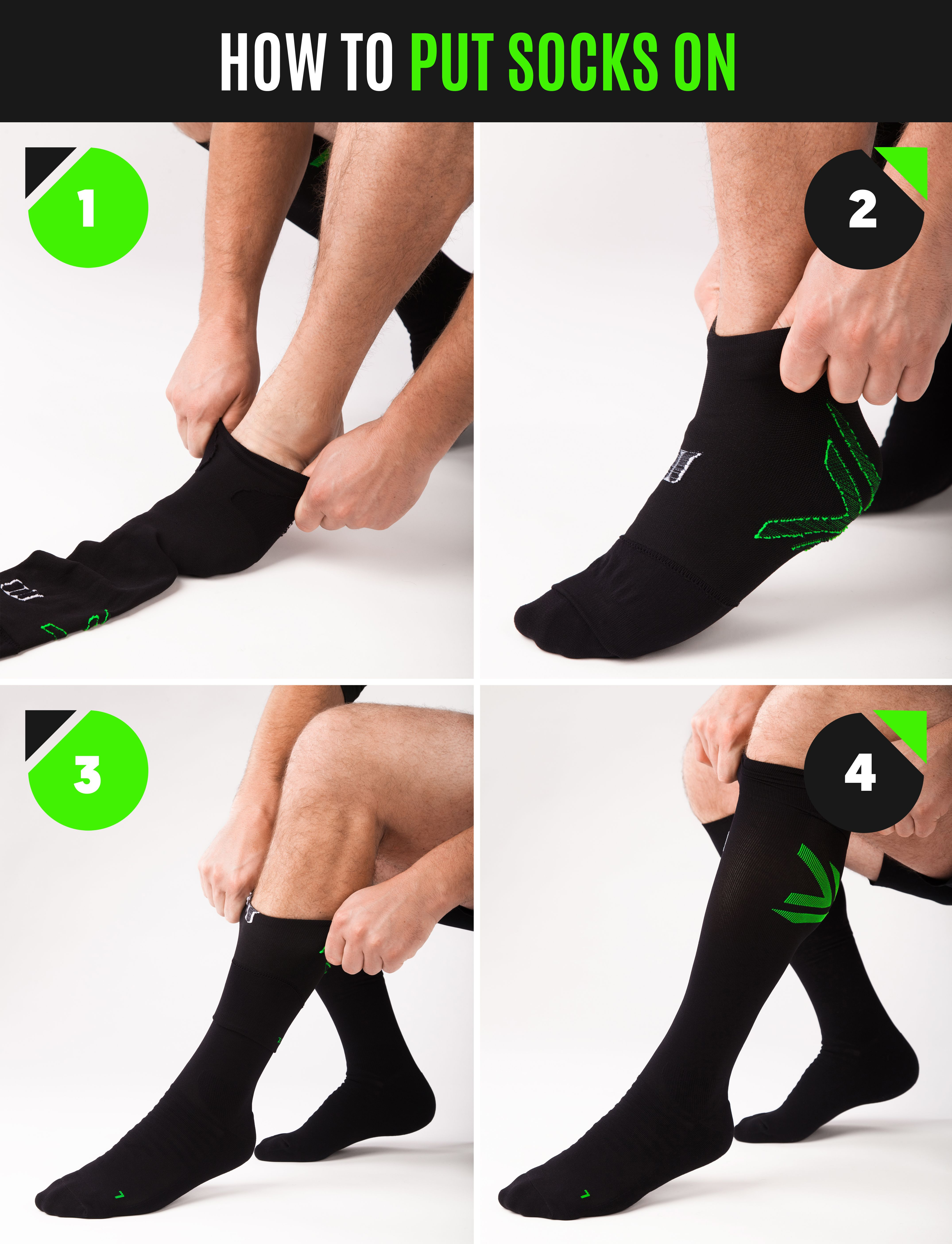 How To Put Compression Socks On Step 1 Insert Your Hand And Grab The Sock At The Top Of The Heel Pocket While Compression Socks Mens Socks Compression Socks