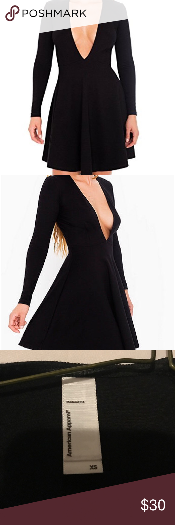 Deep v ponte skater dress American apparel deep v skater dress American Apparel Dresses Mini