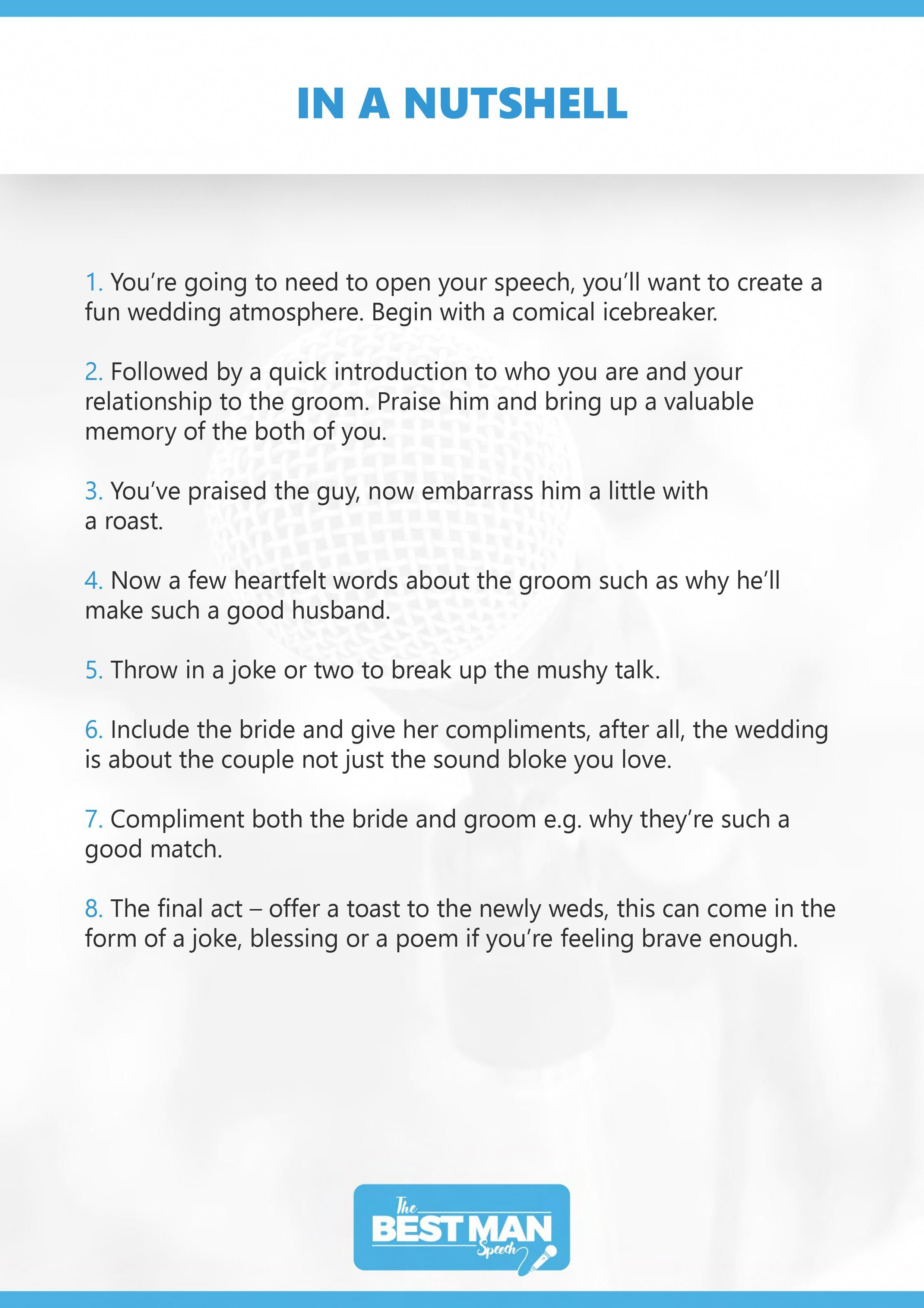 The Best Man Speech In A Nutshell Funktion Events Best Man Speech Template Wedding Speech Best Man Speech