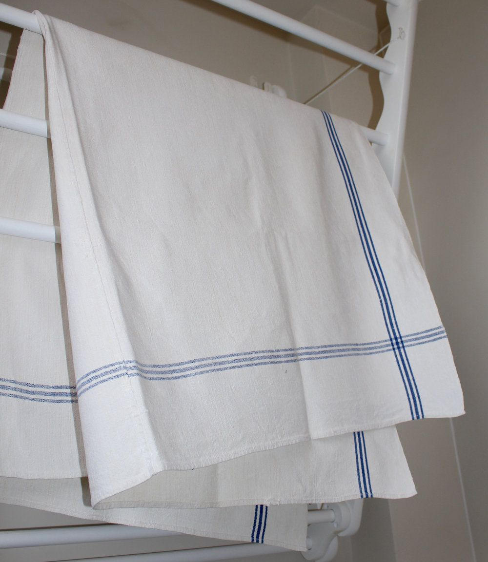 Vintage Blue Border Linen Table Cloth  Hungarian Linens  Medium  Rustic Country Style  Good Condition is part of Country Clothes Rustic - www rebeccasaix etsy com