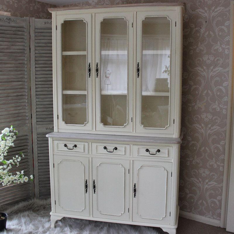 Provence Cream Glazed Display Cabinet With Drawers Doors Living Dining Room Chic