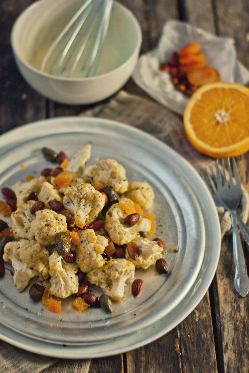 Cauliflower Salad with Almonds, Apricots & Fried Capers