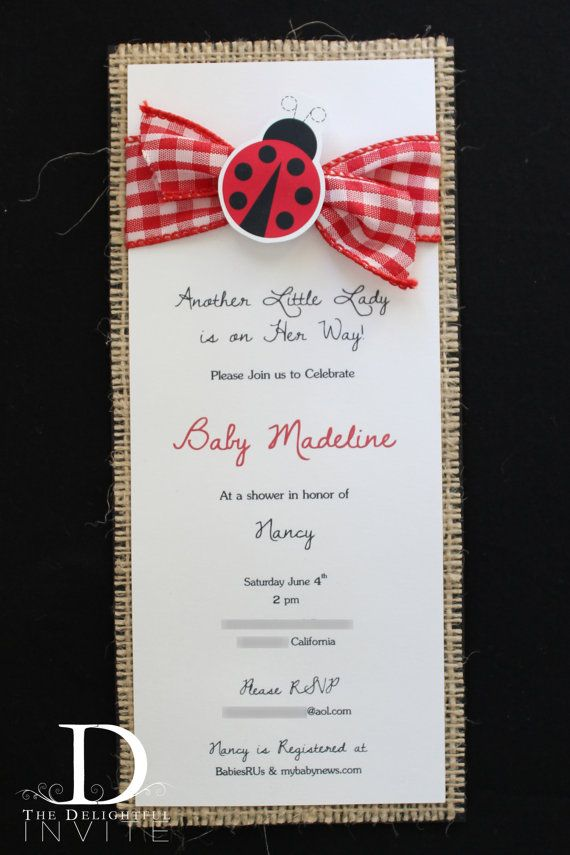 wedding shower invitations handmade%0A Little Lady Ladybug Baby Shower Invitations by TheDelightfulInvite