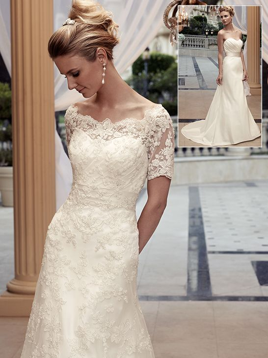 289757ec073 Sheer beaded lace off the shoulder neckline with keyhole back and short  sleeves. Beaded lace overlay is finished with a scalloped hemline.