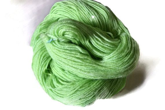 Lime Fresh Hand Dyed Sock Yarn Knitting Crochet by KookaburraYarns