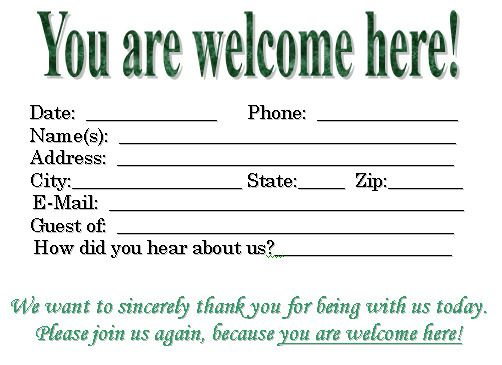Visitor Card Template you can customize Church Pinterest - free registration form template word