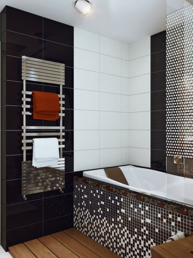 Modern And Unique Bathroom Designblack White Mosaic