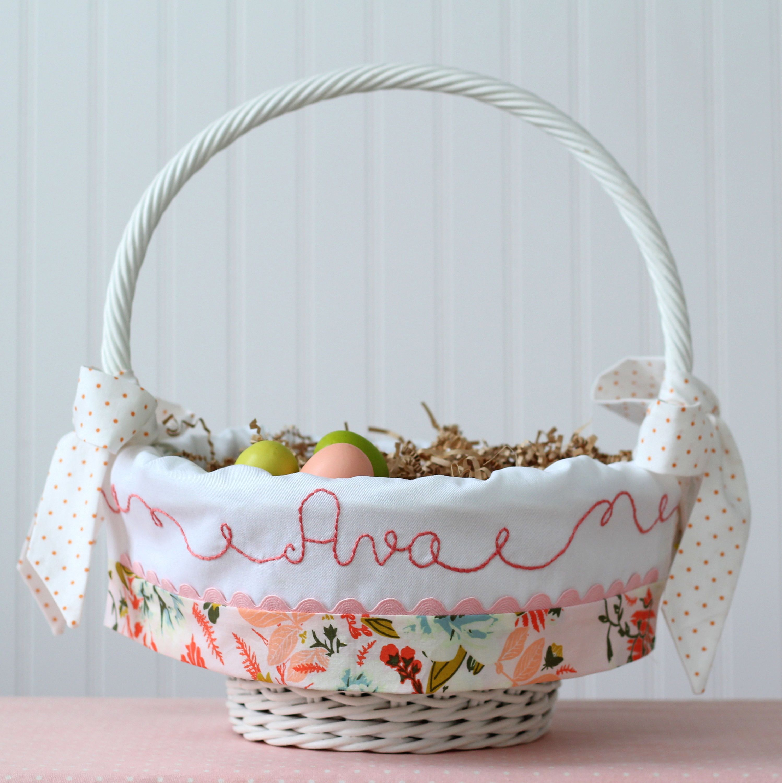 Easter basket liner personalized modern blush peach coral floral easter basket liner personalized modern blush peach coral floral newborn baby girl monogrammed negle Gallery