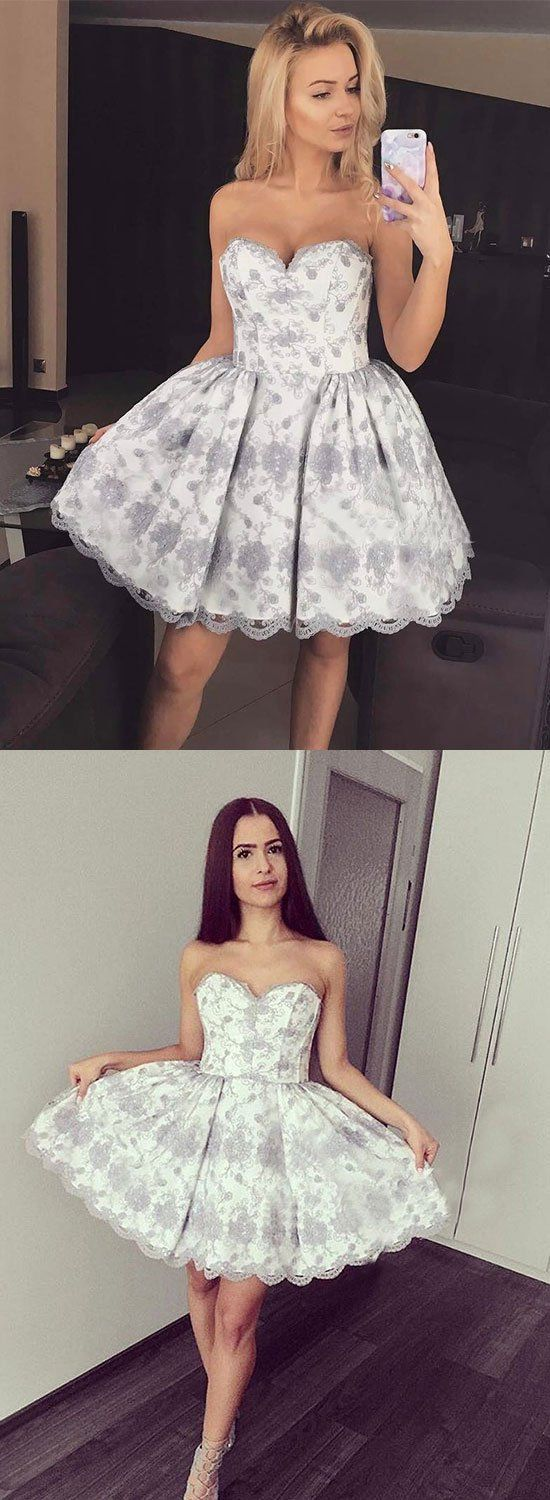 Cute a line lace short prom dress homecoming dress in