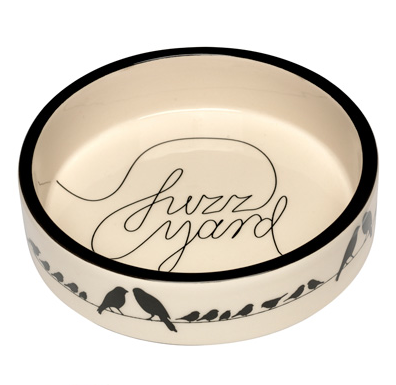 Sacred Pet Boutique : Fuzzyard Cat Bowl - On a Wire. Ceramic shallow cat dish.