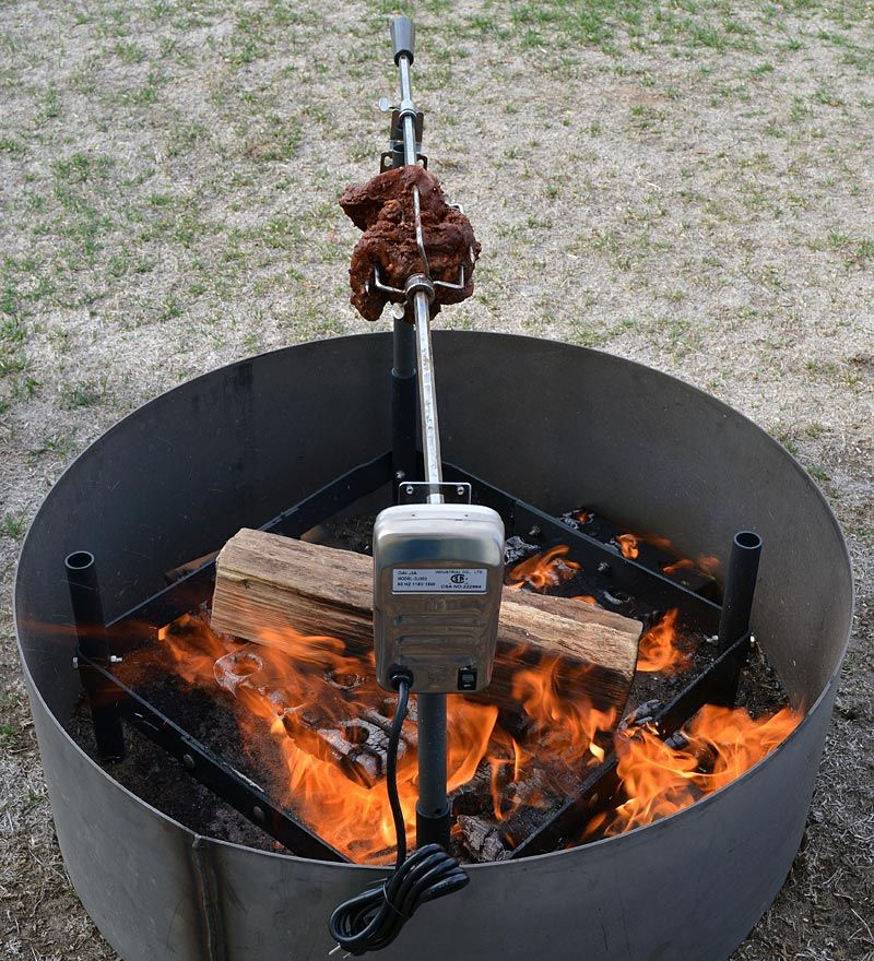 Fire pit electric insert rotisserie kit turns your food