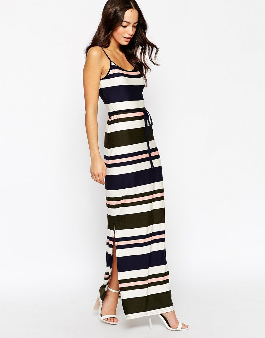 e6ac62bf91c Image 1 of New Look Striped Thigh Split Maxi Dress